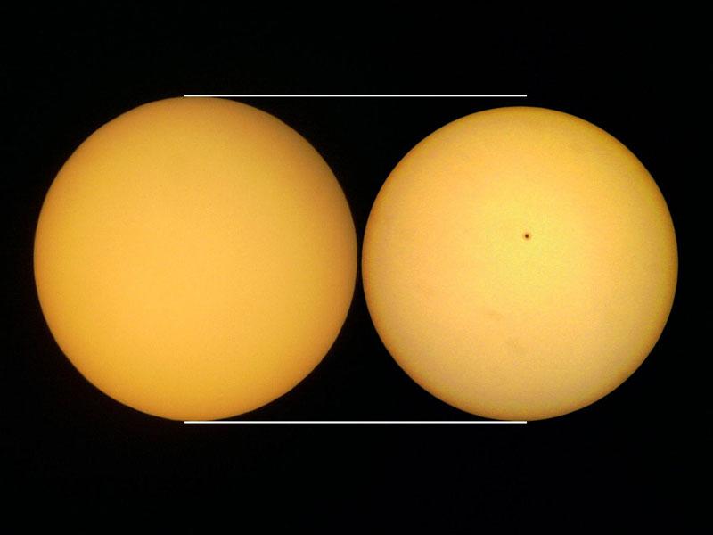 Comparación de tamaños del Sol. © Enrique Luque Cervigón